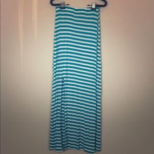 white and turquoise striped maxi skirt